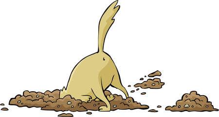 Cartoon dog digs a hole illustration Vettoriali