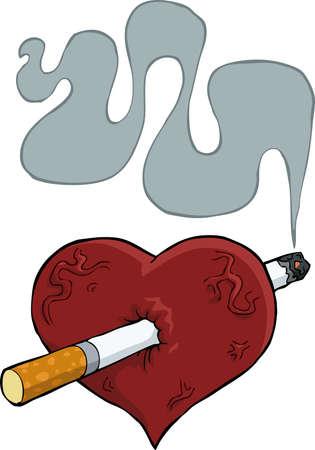 pierced: Cartoon heart pierced by cigarette vector illustration