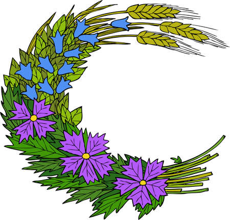Bouquet of wild flowers and wheat vector illustration