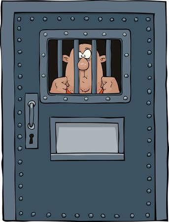 rejas de hierro: Puerta de la prisión sobre un fondo blanco ilustración vectorial Vectores