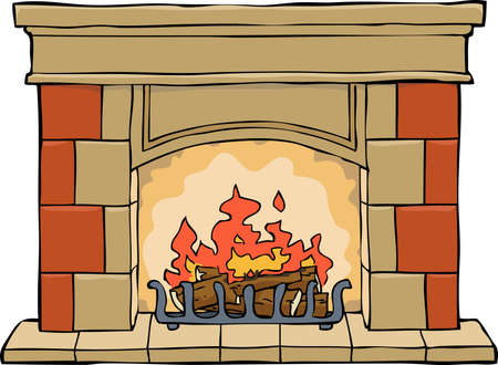 cartoon fireplace: Fireplace on a white background vector illustration