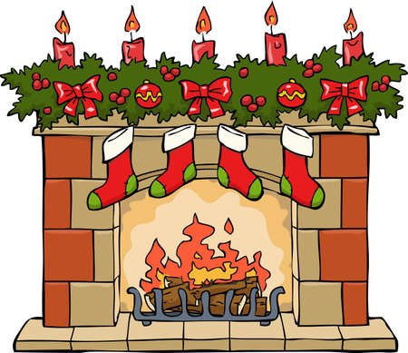 stone fireplace: Fireplace in Christmas on a white background vector