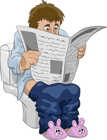 Mann Liest Zeitung In Der Toilette Cartoon Illustration Isoliert Auf