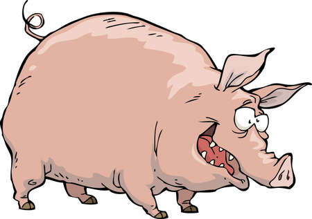 Cheerful pig on a white background vector illustration Vector