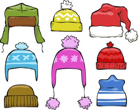 Set cartoon of winter hats vector illustration Illustration