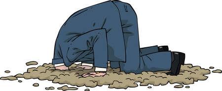 該男子把頭埋在沙子裡的矢量插圖