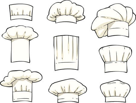 commercial kitchen: Set toques on a white background vector illustration