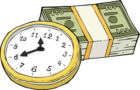 wad: Clock and a wad of cash vector illustration Illustration