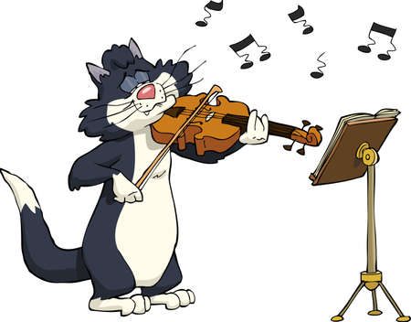 Cartoon cat playing the violin vector illustration