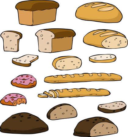 produits céréaliers: Réglez le pain sur un fond blanc illustration vectorielle