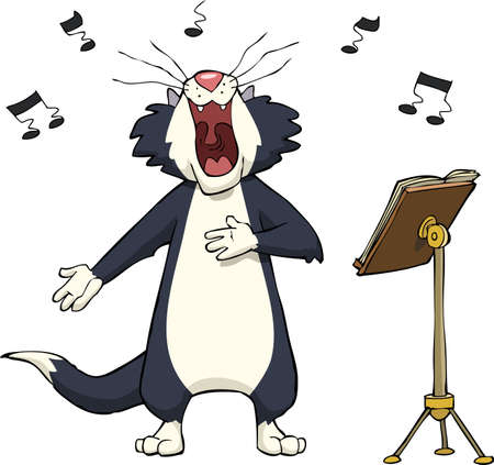 Singing cat on a white background vector illustration Vettoriali