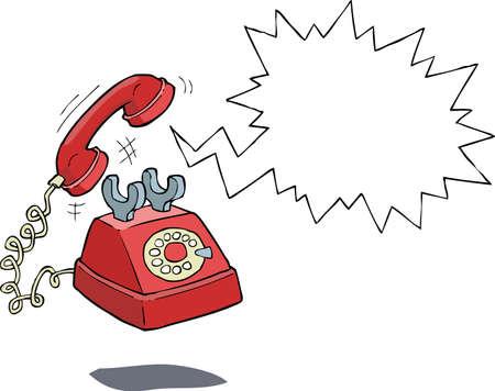 cable telefono: Suena el tel�fono sobre un fondo blanco ilustraci�n vectorial