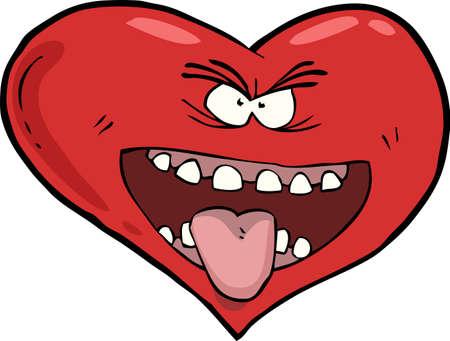 Heart with an open mouth vector illustration Ilustração