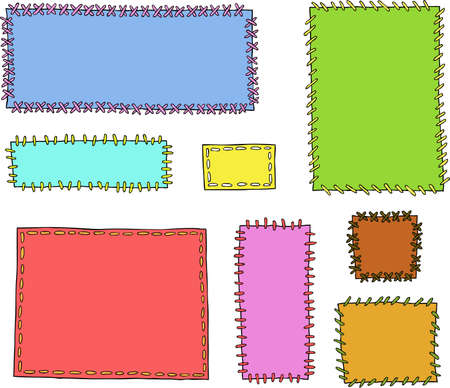 patched: Set textile patches on a white background vector illustration