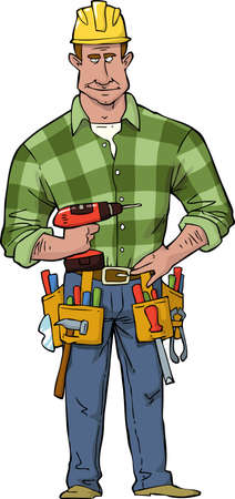carpenter tools: Cartoon construction worker with tools vector illustration