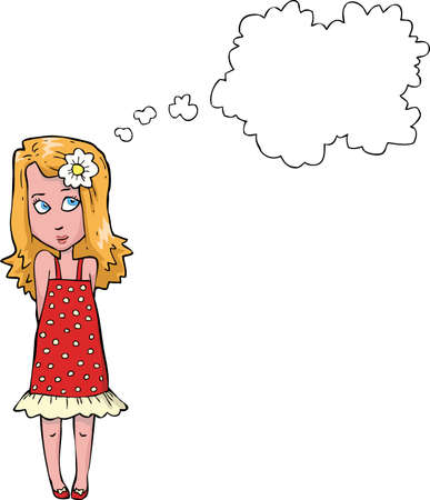 positive thought: Girl thinking on a white background vector illustration Illustration