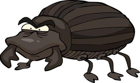 bedbug: Black beetle on a white background vector illustration Illustration