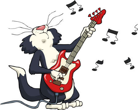 popular music: Cat playing on electric guitar vector illustration