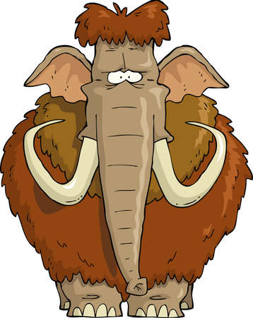mammoth: Shaggy Mammoth on a white background vector illustration