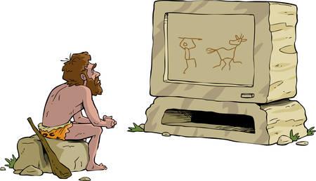 edad de piedra: El hombre prehistórico viendo la televisión ilustración vectorial piedra
