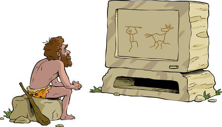 neanderthal: Prehistoric man watching television stone vector illustration Illustration