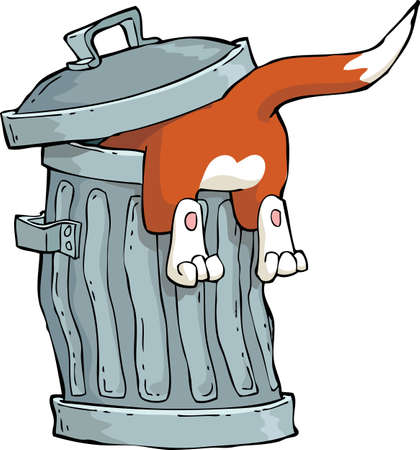 scavenging: Red cat in a trash can vector illustration