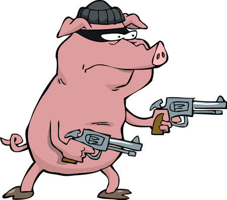 dishonesty: Pig robber with two revolvers vector illustration Illustration