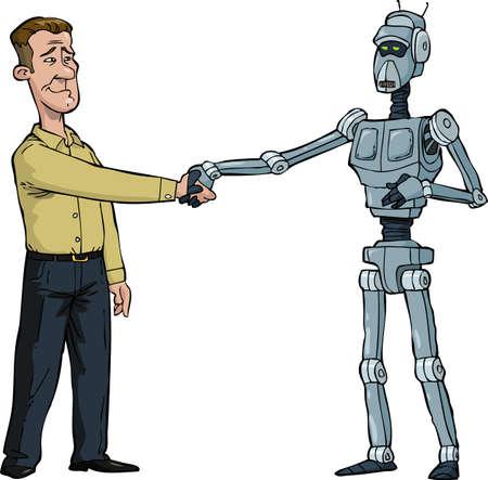 handclasp: Handshake man and robot cartoon vector illustration