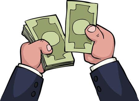feel: Cartoon hands feel the money vector illustration
