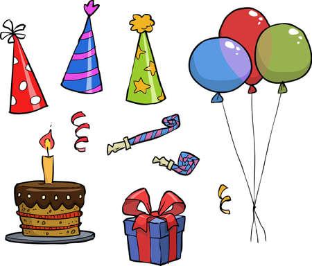 celebracion cumplea�os: Objetos celebraci�n de cumplea�os en un fondo blanco ilustraci�n vectorial Vectores