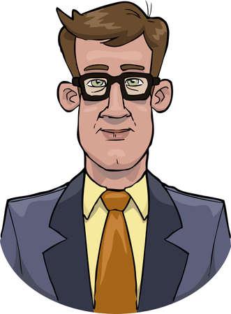 brown shirt: Cartoon bust of a businessman vector illustration