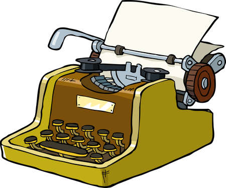 a poet: Typewriter on a white background vector illustration