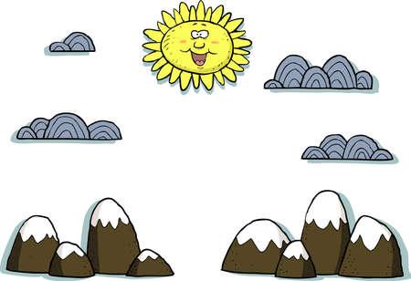 applique: Applique landscape on a white background vector illustration