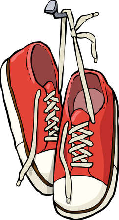 sneaker: Cartoon shoes on a nail vector illustration