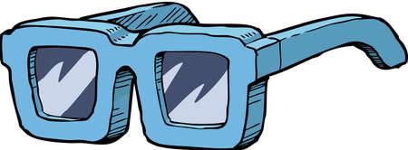 corrective lenses: Blue sunglasses on a white background vector illustration