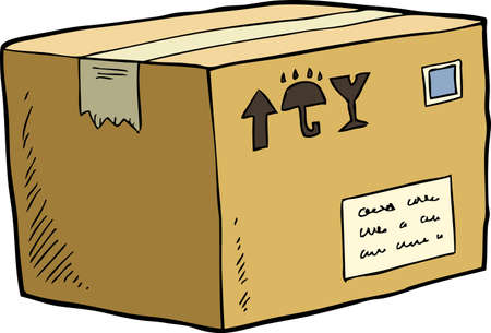 shipped: Cardboard box on a white background vector illustration