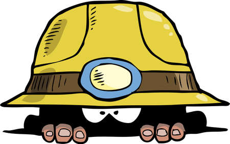 mine worker: Miner peeps out of the hole vector illustration Illustration