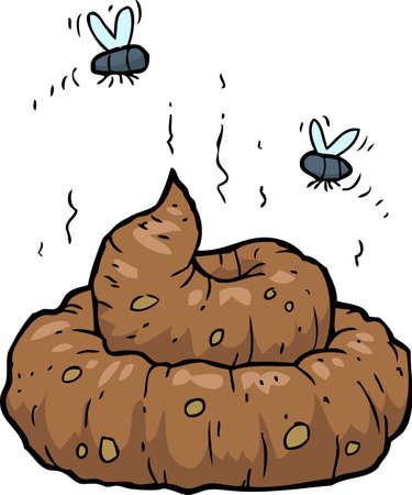 mosca caricatura: Poop sobre un fondo blanco ilustraci�n vectorial