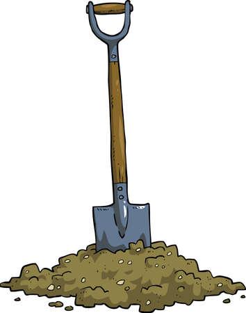 Cartoon shovel in the ground vector illustration