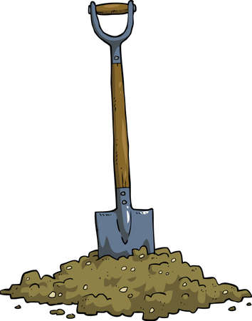 Cartoon shovel in the ground vector illustration