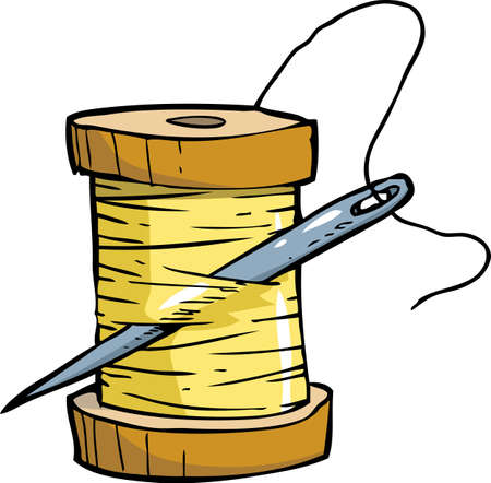 skein: Skein of thread with a needle vector illustration Illustration
