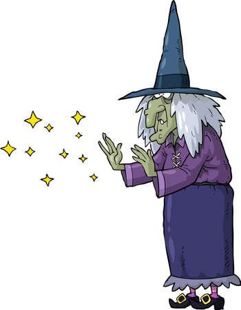 czarownica: Czarownica wyczarowuje na białym tle ilustracji wektorowych Ilustracja