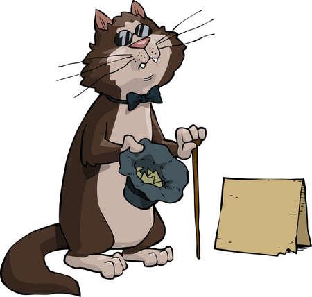 waif: A blind beggar cat vector illustration Illustration