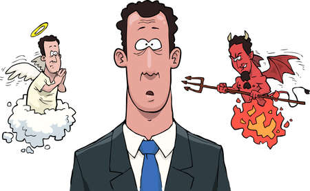 cartoon mascot: A man between the angels and demons vector illustration