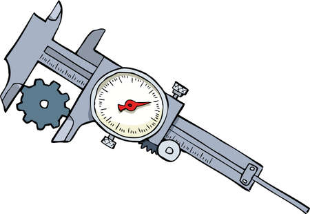 sliding caliper: Cartoon caliper measures the gear vector illustration Illustration