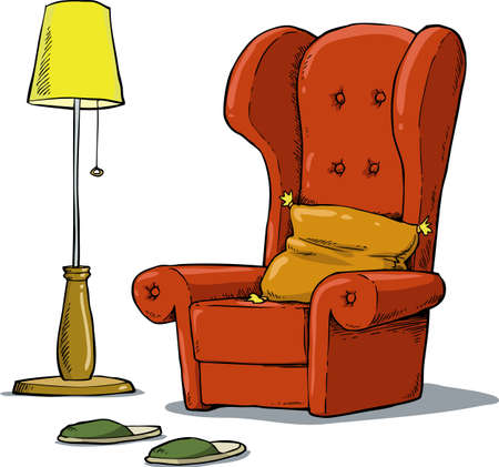 lamp vector: A comfortable armchair and lamp vector illustration
