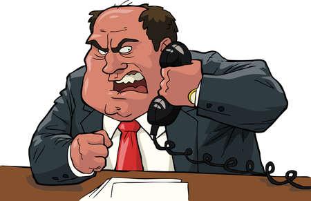 憤怒的老闆喊成手機矢量插圖