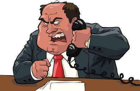 white people: Angry boss shouting into the phone vector illustration Illustration