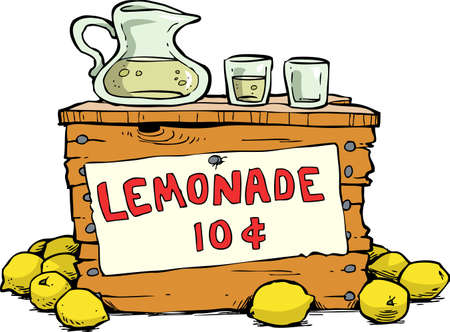 Trade lemonade on a white background vector illustration Ilustracja