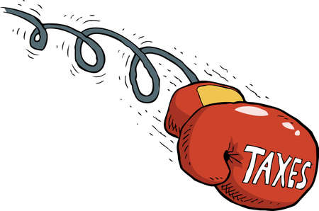 impuestos: Cartoon golpe impuesto ilustración vectorial guantes de boxeo
